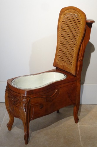 """Antiquités - Louis XV """"chaise Percée"""" Stamped N.baudin"""