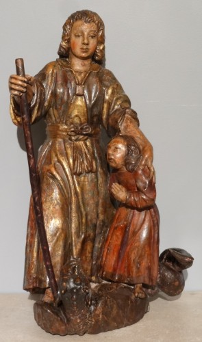 """Statuary group """"Tobie and the angel Raphael"""" 17th century -"""
