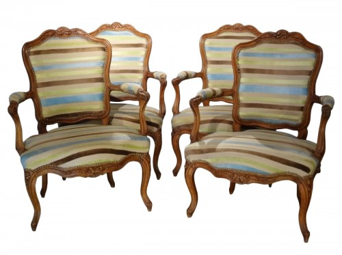 Four Louis XV Armchairs 18th Century