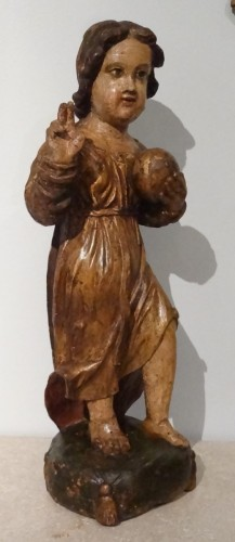 Sculpture  - A 17th Century Carved And Polychrome Christ Child