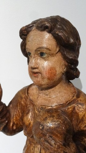 A 17th Century Carved And Polychrome Christ Child -