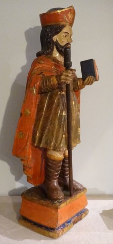 Saint Jacques Carved And Polychrome Wood 18th Century - Religious Antiques Style