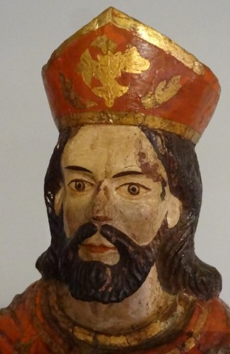 Religious Antiques  - Saint Jacques Carved And Polychrome Wood 18th Century