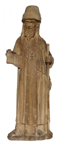 Saint Jacques In Carved Stone 15th Century