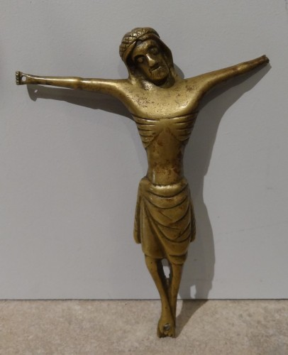 French Gothic Christ In Gilt Bronze 14th Century