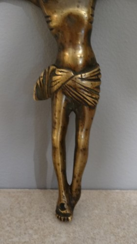 French Christ In Gilt Bronze Late 15th / Early 16th Century -
