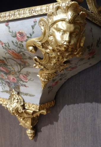 Antiquités - French Louis XV Cartel, Polychrome Wood And Bronze, 18th Century