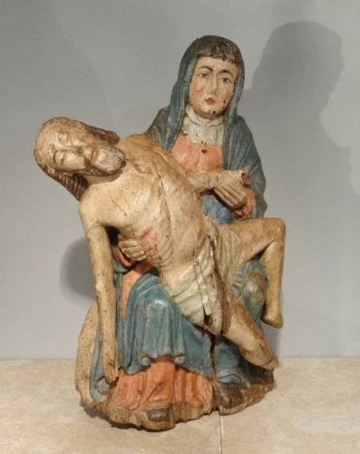 Pieta in carved and polychrome wood 15th century - Middle age