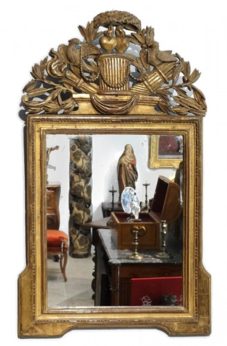 "French Louis XVI mirror gilded wood ""attributes of love"""