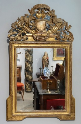 "French Louis XVI mirror gilded wood ""attributes of love"" -"
