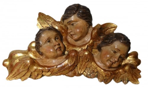 French Heads Of Angels Polychrome Wood 17th Century