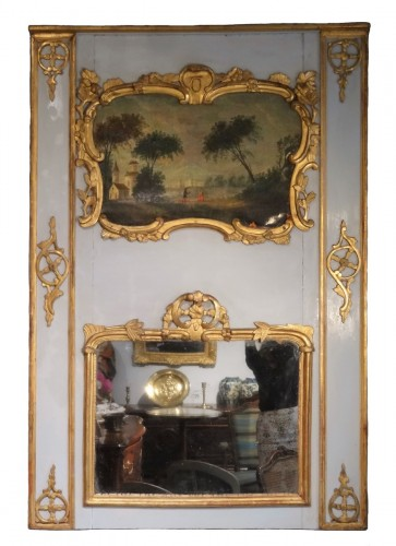 Louis XV painted wood Trumeau
