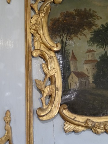 18th century - Louis XV painted wood Trumeau