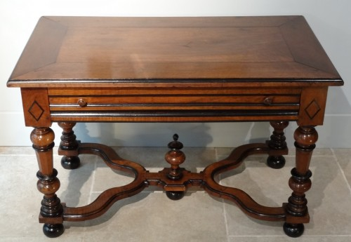 Furniture  - French Louis XIV Table  Desk in walnut of the late 17th Century