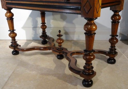 French Louis XIV Table  Desk in walnut of the late 17th Century -