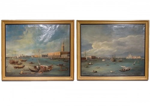 "Pair of large paintings ""View of Venice"" late 19th century"