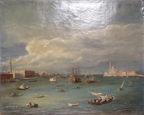 """Pair of large paintings """"View of Venice"""" late 19th century - Paintings & Drawings Style Napoléon III"""
