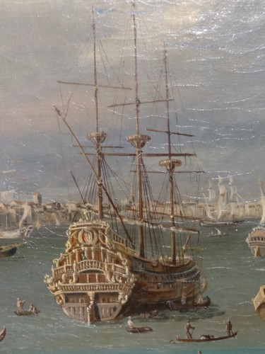 """Pair of large paintings """"View of Venice"""" late 19th century -"""