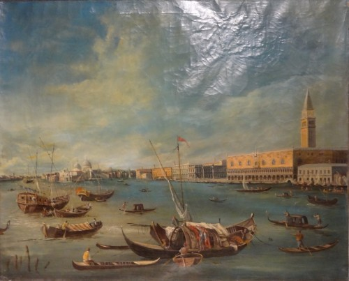 """19th century - Pair of large paintings """"View of Venice"""" late 19th century"""