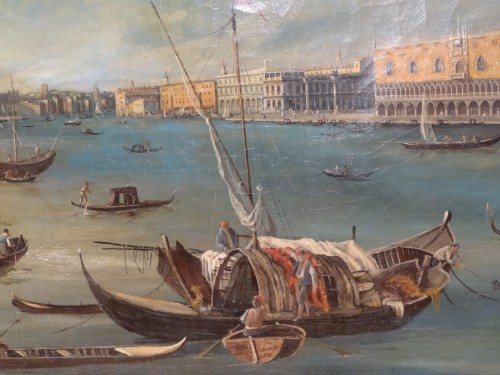 """Antiquités - Pair of large paintings """"View of Venice"""" late 19th century"""