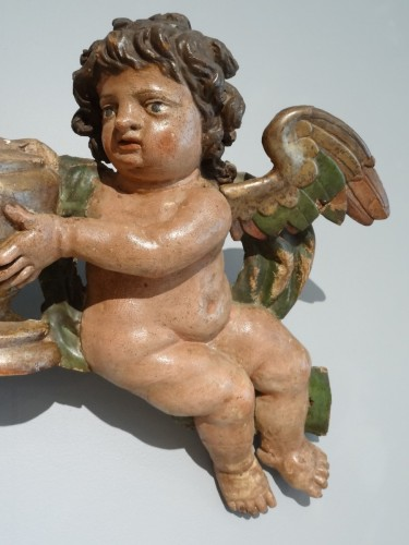 Sculpture  - French pair of cherubs , 17th century, polychrome wooden