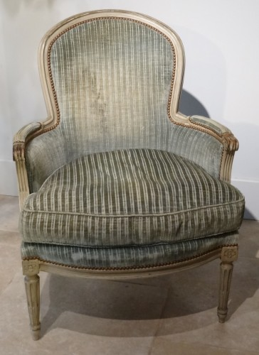"Pair of ""cabriolet"" wing chairs Louis XVI - Seating Style Louis XVI"