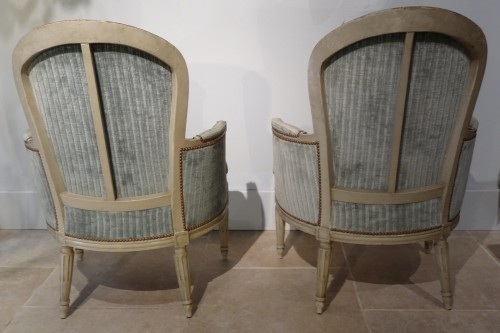 "Pair of ""cabriolet"" wing chairs Louis XVI - Louis XVI"