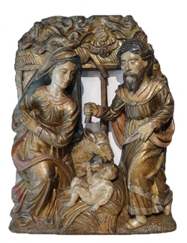 French Nativity In Carved Wood 17th Century
