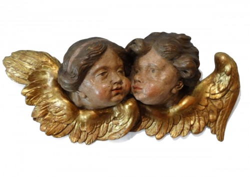 Large Group Of Two Cherubs In Carved Wood 17th Century