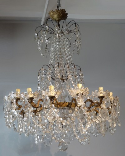 French chandelier crystal and bronze 19th Century