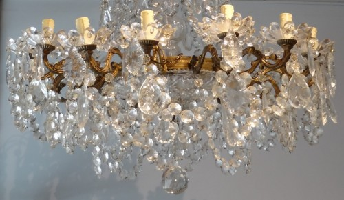Lighting  - French chandelier crystal and bronze 19th Century