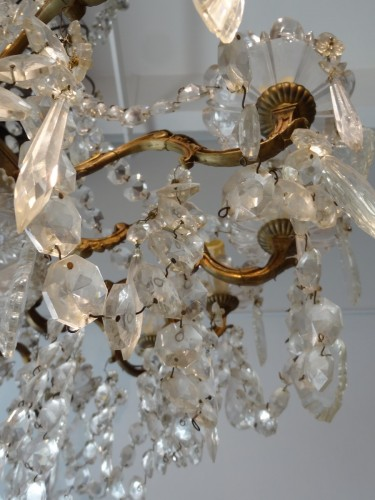 19th century - French chandelier crystal and bronze 19th Century
