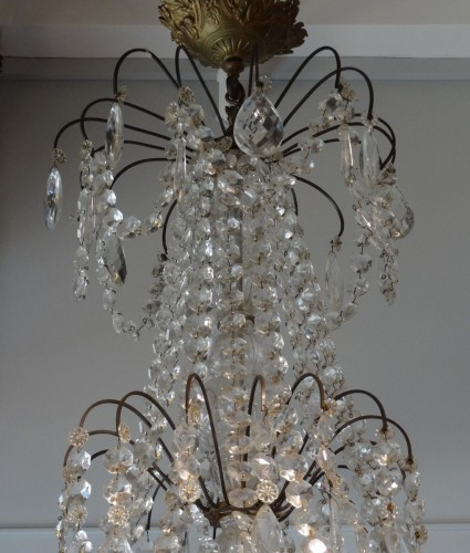 French chandelier crystal and bronze 19th Century - Napoléon III