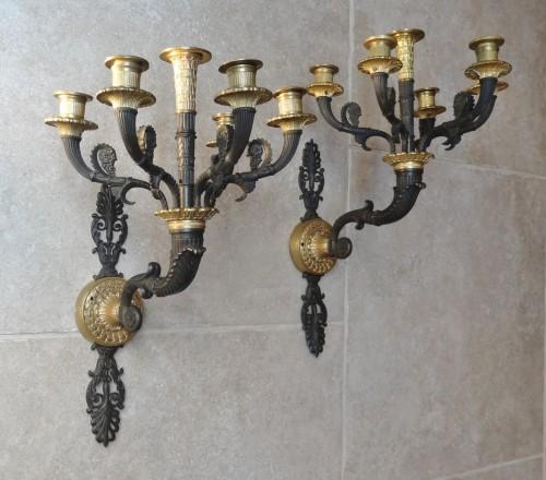 French gilt bronze sconces 19th century