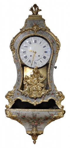French Louis XV Cartel, Polychrome Wood And Bronze 18th Century