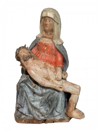 17th Century Carved painted Wood Pietà