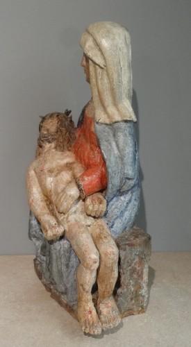 17th Century Carved painted Wood Pietà - Sculpture Style Louis XIV