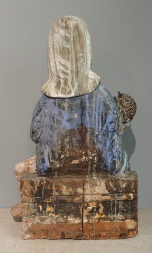 17th Century Carved painted Wood Pietà -