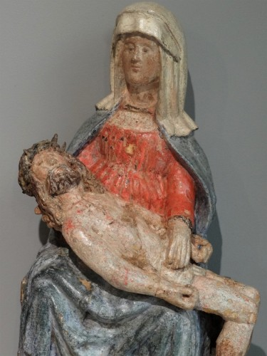 17th century - 17th Century Carved painted Wood Pietà