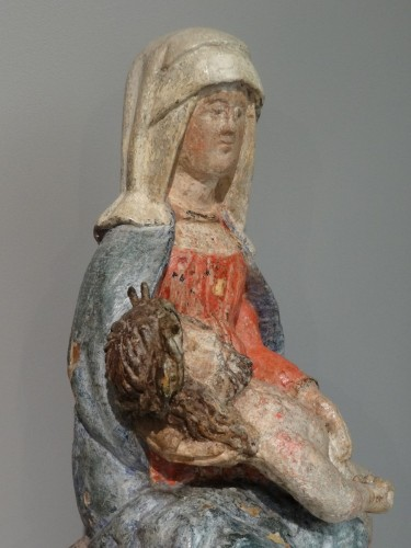 17th Century Carved painted Wood Pietà - Louis XIV