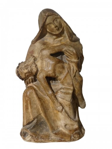 French 15th Century Burgundy Pieta, Carved Stone,
