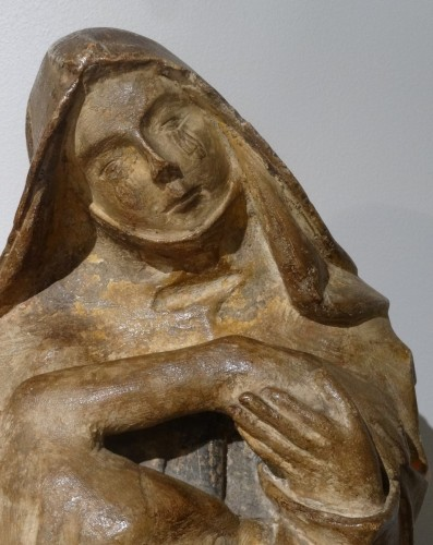Antiquités - French 15th Century Burgundy Pieta, Carved Stone,
