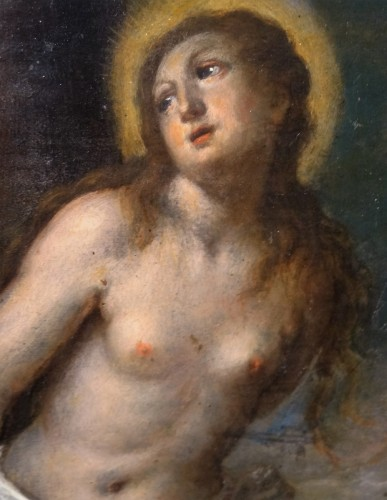 "Paintings & Drawings  - 18th Century Italian Painting On Copper ""st. Christine Of Rome"""