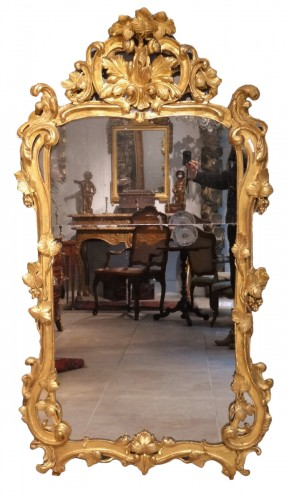 French Louis XV giltwood mirror