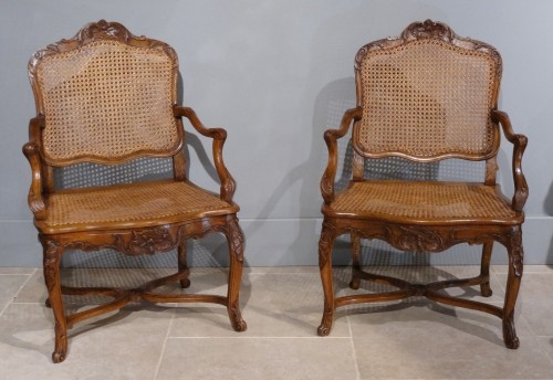 French Regence caned fauteuils, 18th century  - Seating Style French Regence