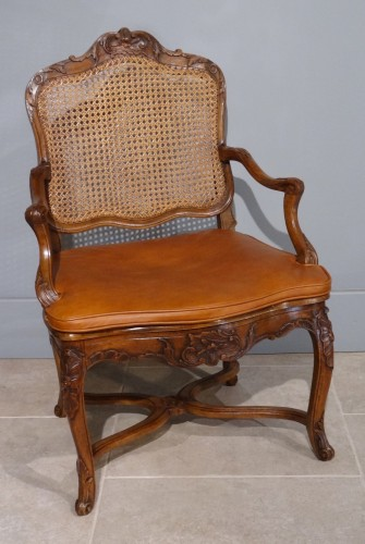 18th century - French Regence caned fauteuils, 18th century