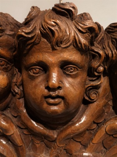 French Angels in carved wood, 17th century - Sculpture Style Louis XIV