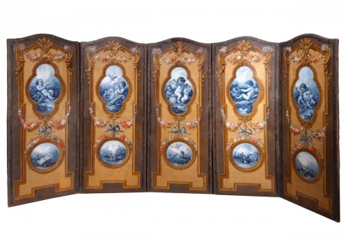French screen in painted canvas, late 18th century