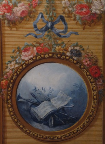 Furniture  - French screen in painted canvas, late 18th century