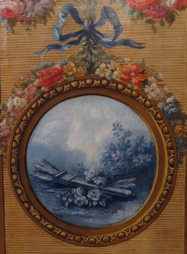 18th century - French screen in painted canvas, late 18th century